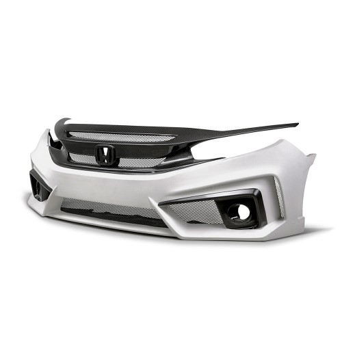 TT-STYLE FIBREGLASS / CARBON FIBRE FRONT BUMPER FOR 2016-2018 HONDA CIVIC SALOON