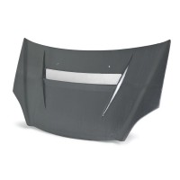 VSII-style silver string carbon bonnet for 2002-2005 Honda Civic Si